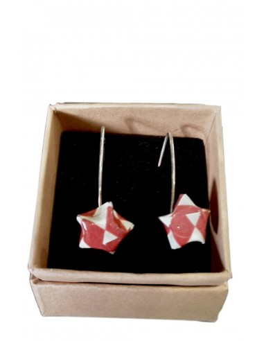 Pendientes origami estrella roja y...