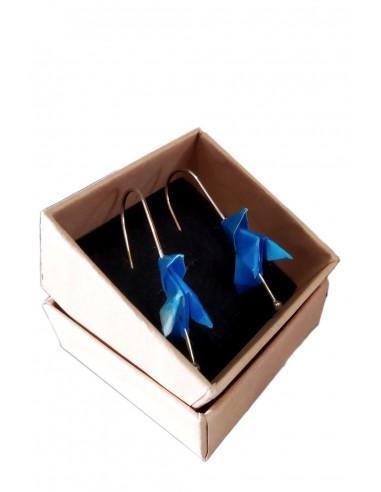 Pendientes Origami pajarita azul