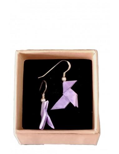 Pendientes origami pajarita rosa