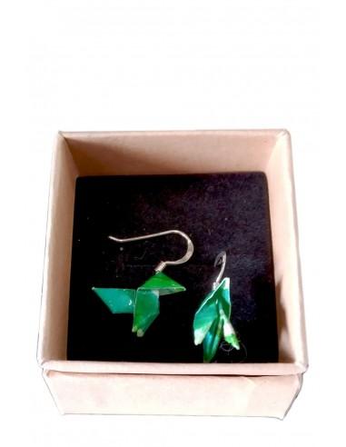 Pendientes Origami Pajarita Verde